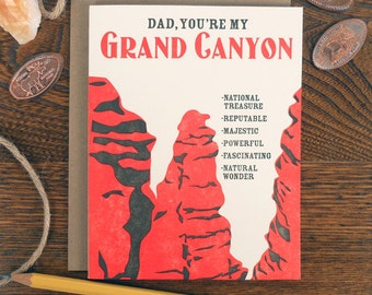 letterpress dad, you're my grand canyon greeting card WPA inspired national parks lover father's day