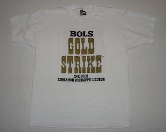 Bols Gold Strike 24K Gold Cinnamon Schnapps Liqueur T-Shirt Vintage 1990s L
