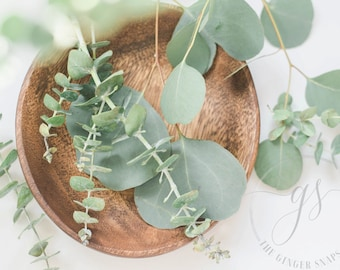 Styled Stock Photography   Eucalyptus in Wood Bowl   Floral Stock Photo   Blog Photography   Digital Imageh
