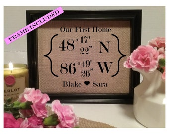 FRAMED Our first home burlap print, Longitude and latitude, First Home, Couples first home,  Housewarming gift, New Home gift, Wedding