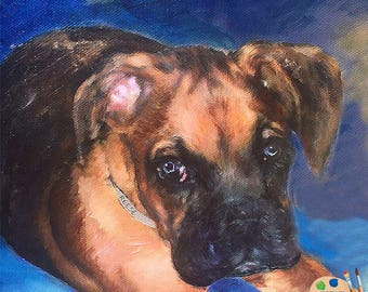 Boxer Pup Portrait - Boxer Painting from your Photo - Pet Portraits