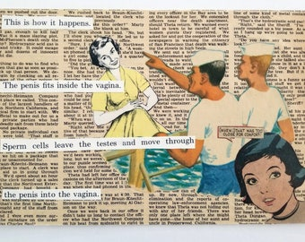 Shore Leave, Hand Made Collage, Vintage Paper Ephemera