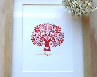 Valentines Day, letterpress print, romantic room decor, Mother's Day, Red love Tree of life, Scandinavian Folk Style, love birds in a tree