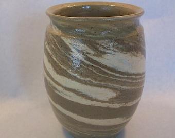 Stoneware Vase Agateware Swirl
