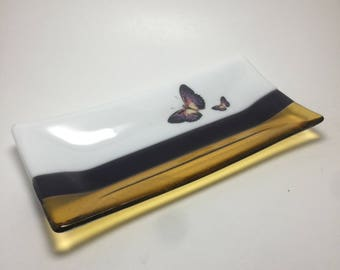 Fused glass, butterfly dish,handmade glass dish, themed dish, art, home decor, jewelry dish, candy dish, spoonrest, dish, fused glass plate