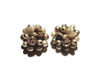 Vintage Japan Signed Champagne Cluster Beads Clip On Earrings
