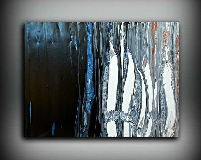 White Black & Blue Painting 12x16 Abstract Painting Acrylic Painting Abstract Wall Art Small Wall Art Canvas Modern Home Decor Wall Hanging