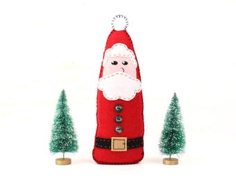 Santa Claus Sewing Pattern, How to Sew a Felt Santa, Felt Father Christmas Pattern with Embroidery, Plush Santa Decoration, Christmas Decor