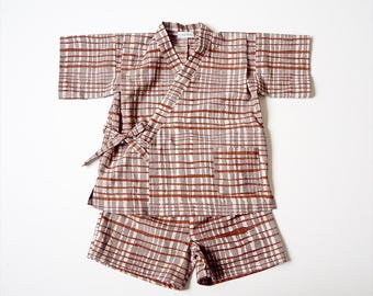 Baby Jinbey, Jinbei, Kimono for babies,CHOCOLAT Enfant, hand block printed fabric from India, made in France