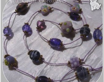 """NECKLACE PURPLE LILAC THREAD COLLECTION """"LAVENDER"""" LAMPWORK GLASS BEADS"""