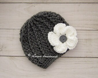 crochet baby hat, baby girl hat, crochet newborn hat, crochet baby beanie, baby girl beanie, baby flower hat, baby flower beanie, baby hat