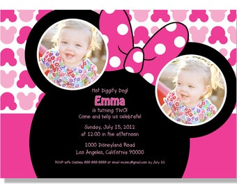 Minnie Mouse Birthday Invitations - Digital File