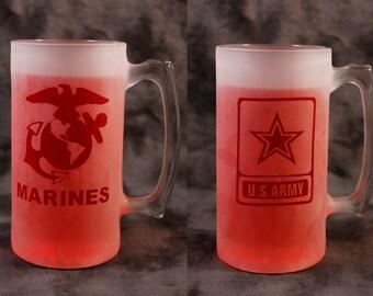 Army or Marines  12 or 26 oz mug stein