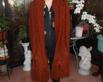 Irish style Brown wool and acrylic hand knitted scarf