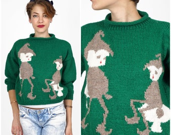 Cute Vintage 1970s Cropped Hand Knit Emerald Green Elf Sitting on Mushroom Holiday Novelty Sweater | Small