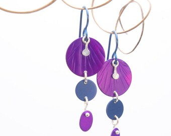 Bright Purple Anodized Aluminum Earrings - 3D Violet Collection - with hypoallergenic hooks