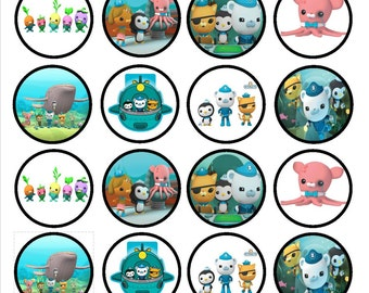 Octonauts Edible Wafer Rice Paper Cake Cupcake Toppers x 24 PRECUT