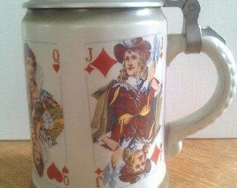 "Beer mug, ""Deck of cards""."