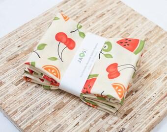 Large Cloth Napkins - Set of 4 - (N1188) - Cherries Fruit Modern Reusable Fabric Napkins