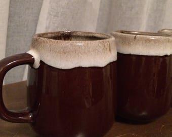 3 ceramics vintage brown mugs