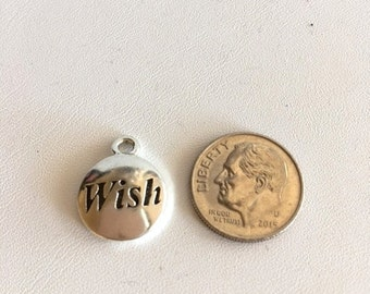 """Sterling Silver Charms-Word Charms-""""Wish"""""""
