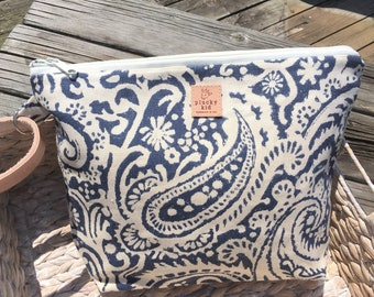 Paisley Print Linen Knitting Project Bag with Leather Cuff