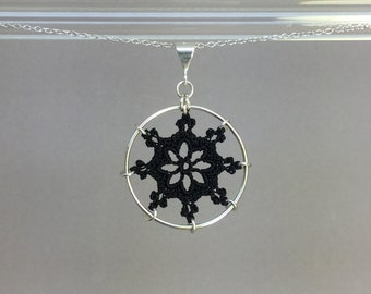Nautical doily necklace, black silk thread, sterling silver