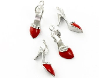 4 high heel shoe 3D charms red enamel and silvertone,8mm x 28m # CH 361