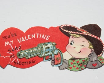 Vintage Cute Boy Sheriff Unused Glitter Valentine Card, Valentines Day Card for Girl Friend Wife Her