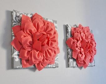 Coral Wall Decor, Bathroom Coral Decor, Bedroom Coral Wall Art, Living Room Coral Decor, Flower Decor Wall Art, Coral Nursery Wall Art, Girl
