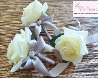 Ivory & Grey Boutonniere, Ivory Rose with silver grey ribbon and rhinestone accent