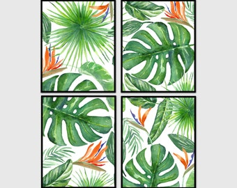 Tropical leaf print, decor, palm leaf print, printable art, botanical print, instant download, wall art, tropical art, set of 4 prints