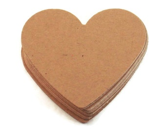 Paper Die Cut Hearts   2  inch  in  Kraft Quantity 50