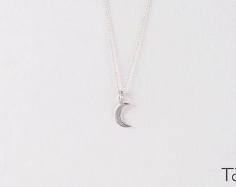 White Gold Necklace, Moon necklace, Tiny Moon Pendant, Minimal Style, Elegant Design, Romantic Necklace, Crescent Necklace, Charm Necklace