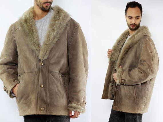Grey Shearling Coat / Grey Sheepskin Coat / Shearling Coat Men / Sheepskin Coat Men / Vintage Sherpa Coat / Shearling Jacket / Sheepskin