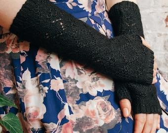 Black fingerless gloves - baby alpaca arm warmers - gift for her - winter wool fingerless gloves - wrist warmers - alpaca gloves