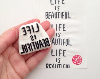 life is beautiful rubber stamp | quote stamp | teacher's stamp | birthday wedding card making | diy planner | hand carved by talktothesun