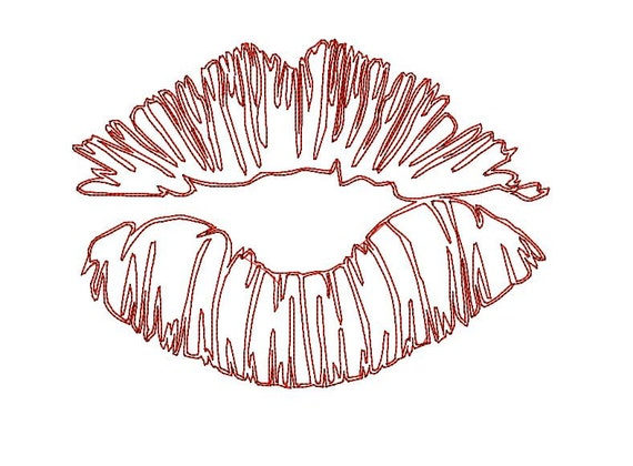 kiss machine embroidery design kiss lips sketch doodle design 4x4 5x7 and 6x9 hoop redwork kissing lips embroidery desing - Bakers Gonna Bake Kitchen Redwork Embroidery Designs
