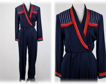 1980s Navy Jumpsuit Gold Trim by John Roberts Size 6