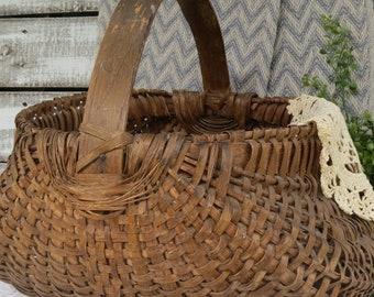 Antique Oak Buttocks Basket Large - Primitive Farmhouse Basket - Antique Gathering Basket