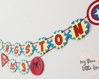 Birthday Banner for Super Hero Themed Party, Boy Party Decor, Customized Superhero Party Supplies, Party Theme for Boys, Third Birthday