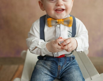 Yellow-grey Bowtie,Baby Bow Tie, Toddler Bow Tie, Child Bow Tie, Adult Bow Tie, Father and Son Bow Tie set