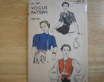 VOGUE PATTERN 7607 Misses' Bolero and Girdle    circa 1930's    Never been used