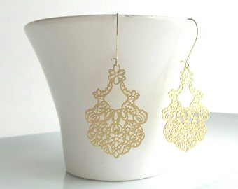 Gold Lace Earrings - filigree style metal cut out design on kidney ear hooks - delicate lightweight fancy drop ornate lacy detail