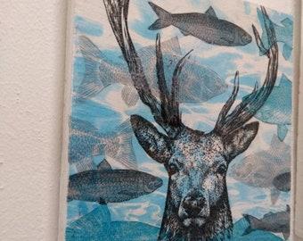 Blue surreal deer wall art