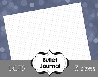 Grid Dots Bullet Journal Printable Paper, 9x7, A5, and Letter Size, A4 - all sizes included to fit your planner perfectly