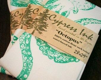 Green Octopus Kitchen flour sack Towel