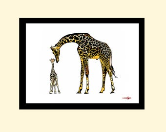 Giraffe Art Print, Wall Art, Art Print, Home Living, A4 Prints, Giraffe Print, Modern and Contemporary, Animal Art, Safari Print