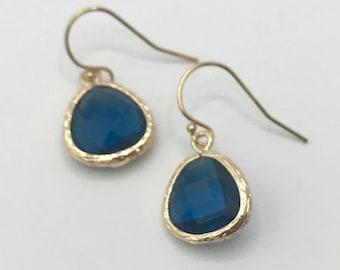 Gold Single Drop Earring London Blue Color Quartz