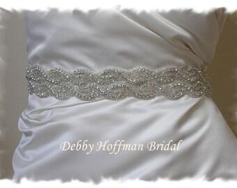 Wedding Belt, 32 inch Rhinestone Crystal Wedding Dress Sash, Jeweled Bridal Sash, Wide Bridal Belt, Beaded Wedding Sash, No. 1126S2-32